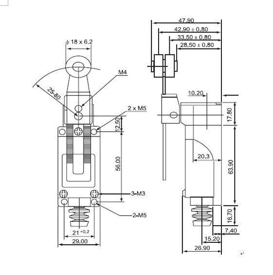 MP607 - Концевой переключатель IP65 - Схема