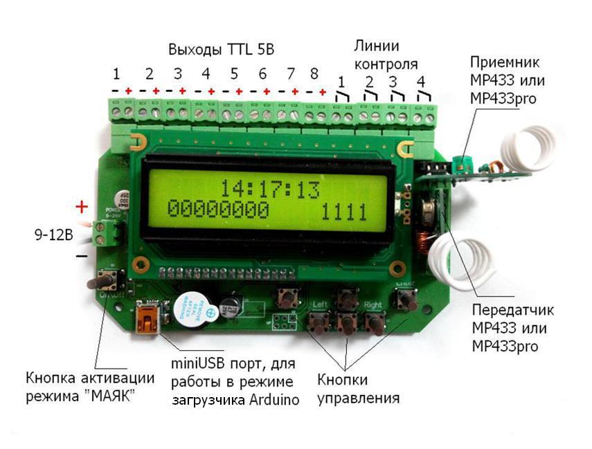 MP8036mhz - Сканер беспроводных устройств диапазона 433 МГц - Схема