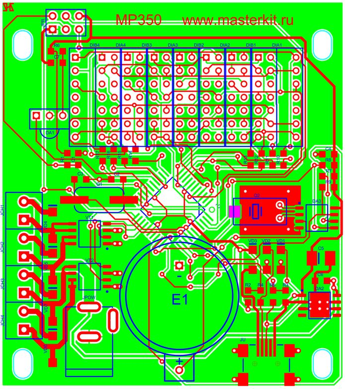 MP350 - Часы реального времени (RTC) c управлением нагрузками по 4 каналам - Чертеж печатной платы