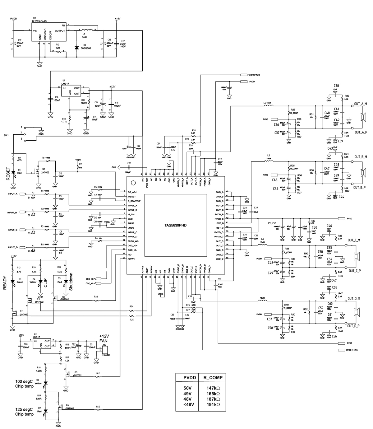 MP5630C4 - Конфигуратор для построения мощного четырехканального усилителя НЧ - Схема