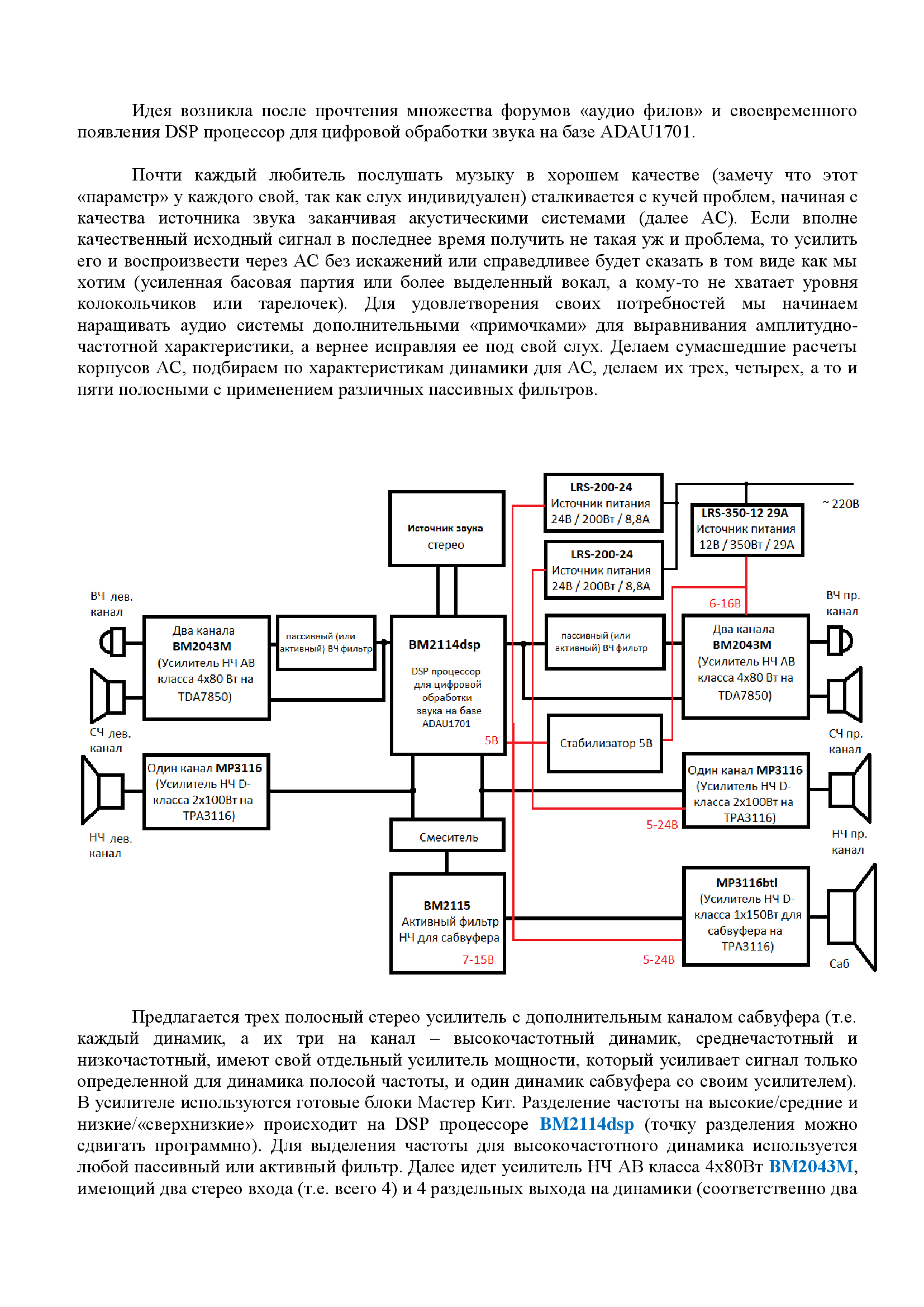Трех полосный стерео усилитель мощности с каналом сабвуфера
