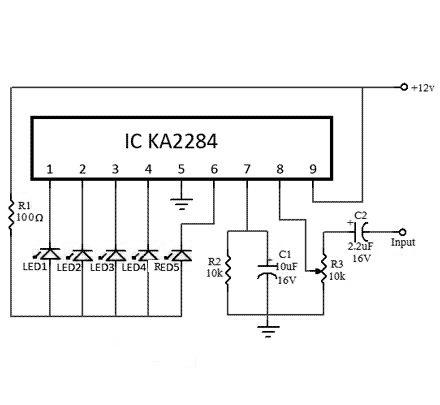 Электрическая схема индикатора уровня - NK046box - Набор юного радиолюбителя для сборки DIY колонки