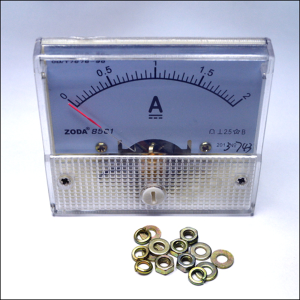 Аналоговый DC амперметр на приборную панель. Шкала 0 – 2 А.