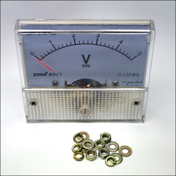 Аналоговый DC вольтметр на приборную панель. Шкала 0 - 5 В