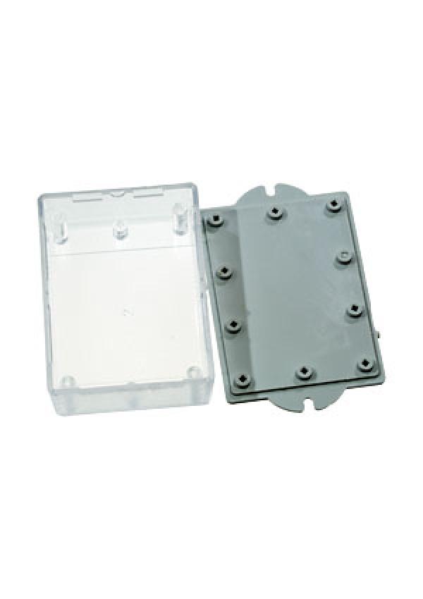 Корпус пластиковый 90х65х30 мм с крепежными проушинами (черный/прозрачный)