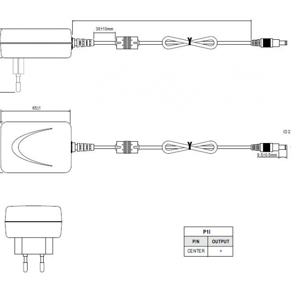 Сетевой адаптер с разьемом 2,1х5,5 мм 5В / 12Вт / 2А