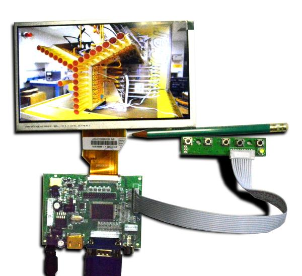 Цветной монитор 7', 1024x 600 HDMI, VGA, 2хAV, LVDS