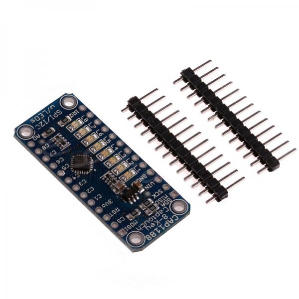 8-ми кнопочный емкостной сенсорный датчик CAP1188 для интерфейсов I2C и SPI