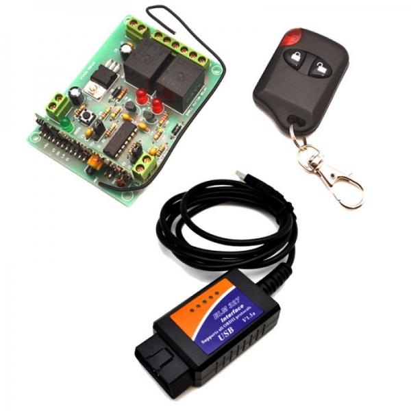 Автомобильный USB - OBDII сканер + модуль 2-х канального дистанционного управления 433МГц