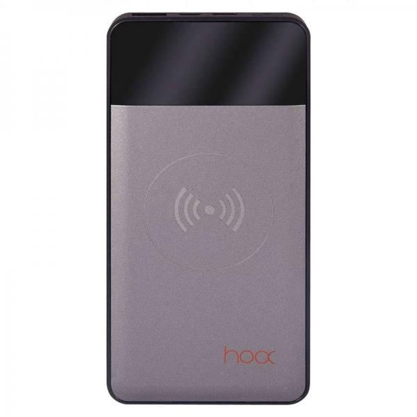 Внешний аккумулятор с беспроводной зарядкой Hoox Aura 10000 (серый)