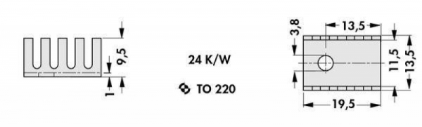 Радиатор FK 231 SA 220 (эф. площадь 15 см2, анодированный алюминий)