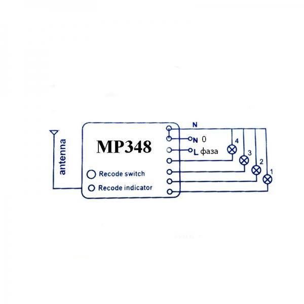 Беспроводной комплект управления освещением диапазона 433 МГц (4 каналов по 2 кВт)