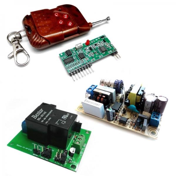Комплект беспроводного управления 433 МГц PRO + cиловое реле + источник питания