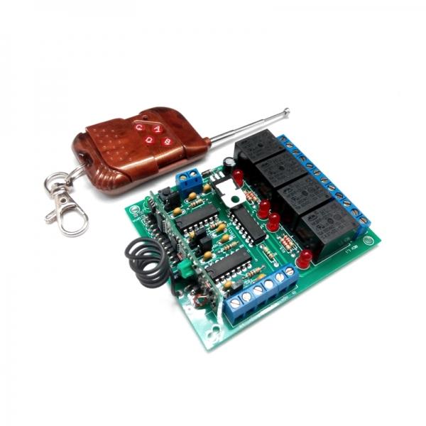 Комплект 4-х канального дистанционного управления 433 МГц с 4-мя реле до 2 кВт (10А).