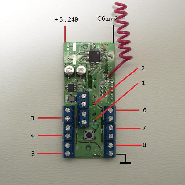 Передатчик, от 1 до 8 каналов, 433 МГц (триггер)
