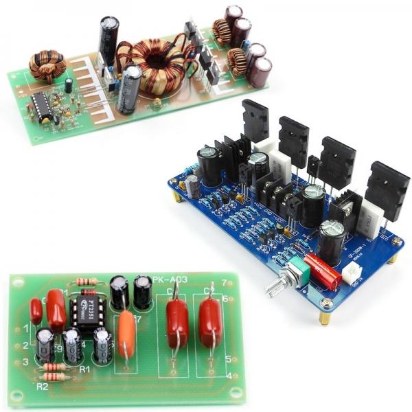 Набор для сборки Hi-Fi УНЧ 200 Вт (моно) + ФНЧ для сабвуфера + автомобильного преобразователя 12 - +/-35В