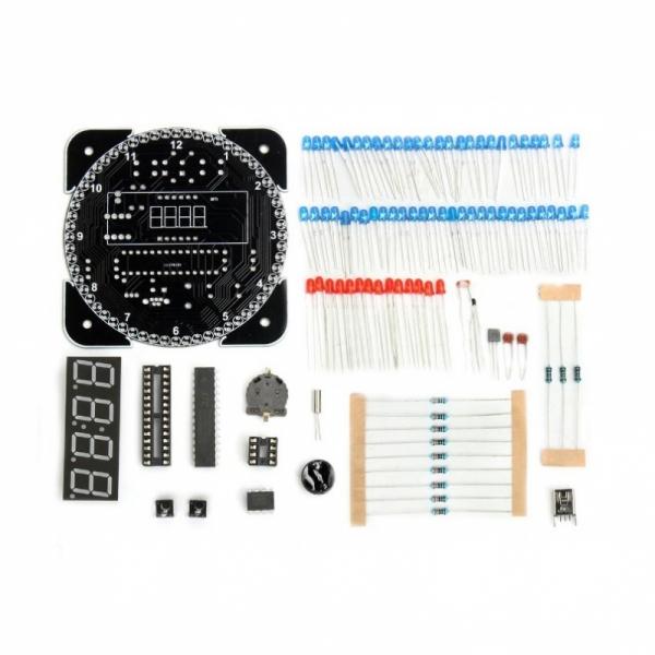Электронные часы на светодиодах с будильником и датчиком температуры