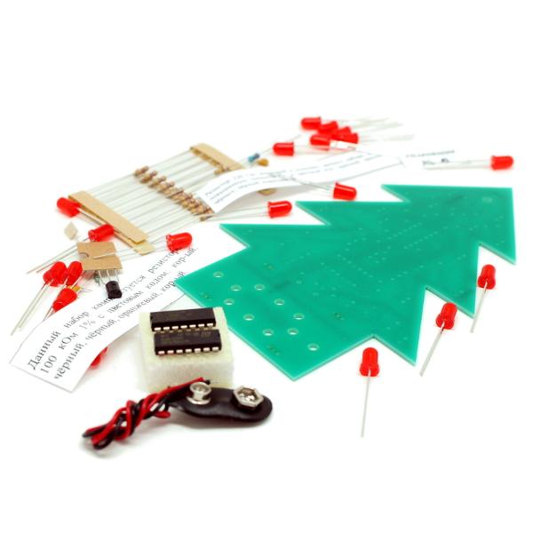 Новогодняя ёлка с обучающими материалами (набор для пайки)