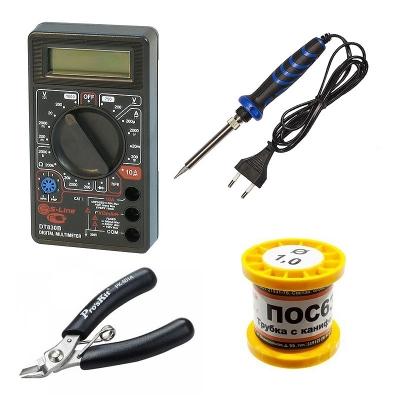 DT-830B + ZD-721N + DM0001 + DI0 - Мультиметр + паяльник 40Вт + бокорезы + припой с канифолью