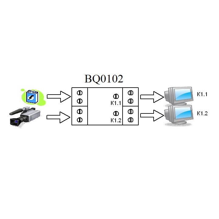 Схема подключения - BQ0102 - Усилитель-разветвитель видео сигнала на 2 канала