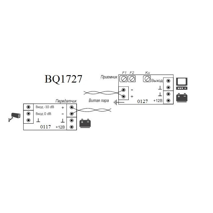Схема подключения - BQ1727 - Комплект для передачи видеосигнала по витой паре до 1000 м