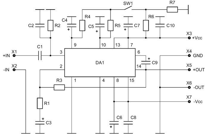 Электрическая схема - NM2033 - Набор для сборки усилителя НЧ 100Вт, моно (TDA7294).