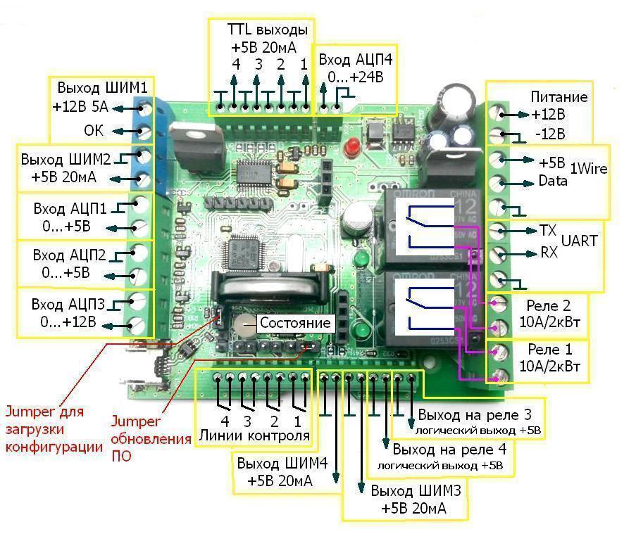 Схема подключения - MP8036multi - Логический модуль (таймер, термостат, часы, ацп, шим)