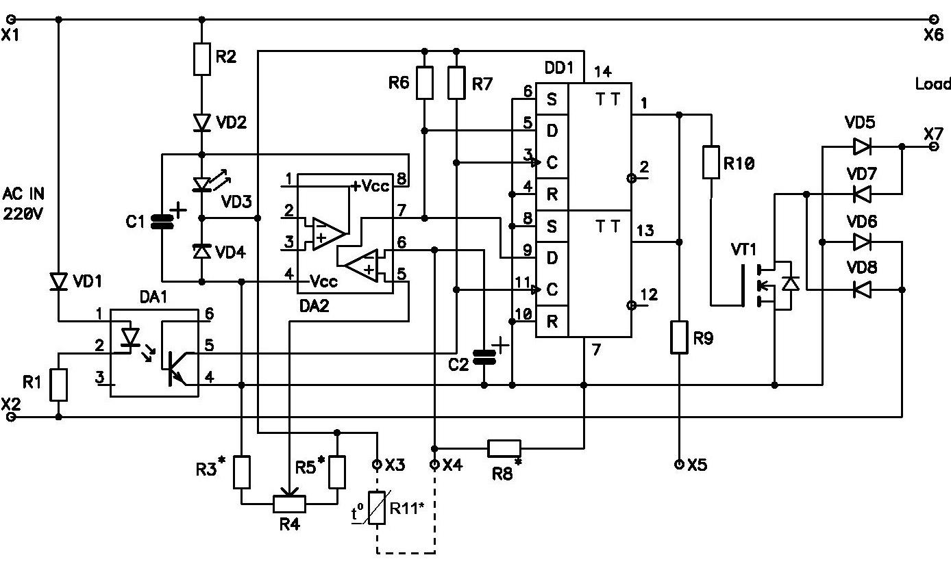 Схема подключения терморезистора серии ТЕС 10-47 кОм - NM1041 - Регулятор мощности для асинхронного двигателя с малым уровнем помех 650 Вт/220 В