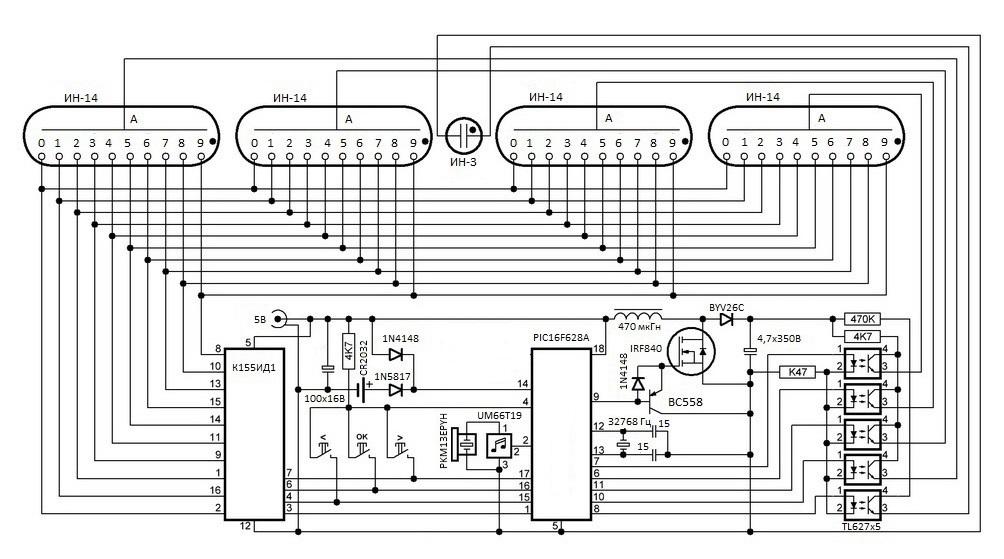 Электрическая схема - NM14 - Набор для сборки часов на лампах ИН-14