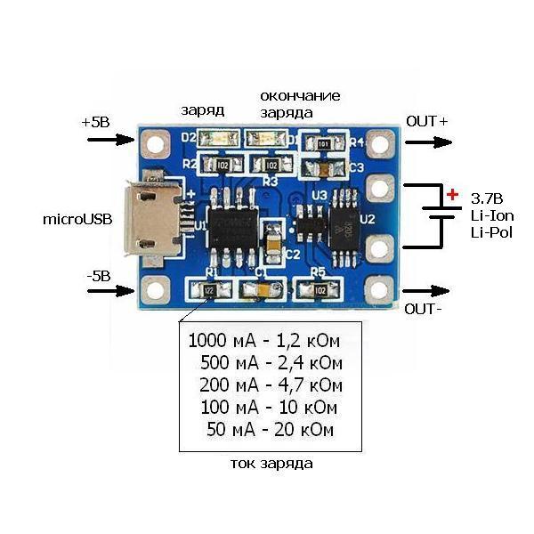 Схема - PW829 - Модуль заряда Li-Ion Li-Pol АКБ  на базе TP4056 microUSB