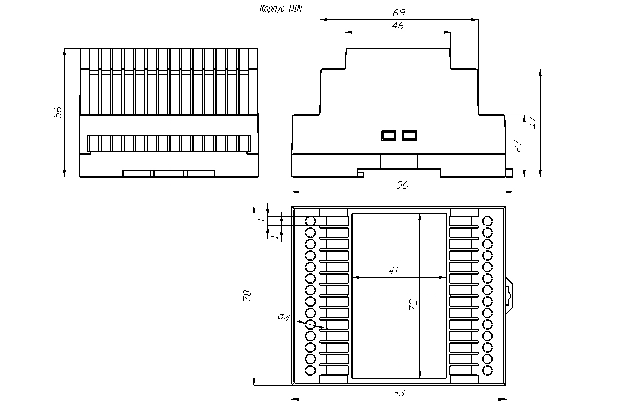 Общий вид - BOX-G207 - Корпус на DIN рейку 96х78х56 мм