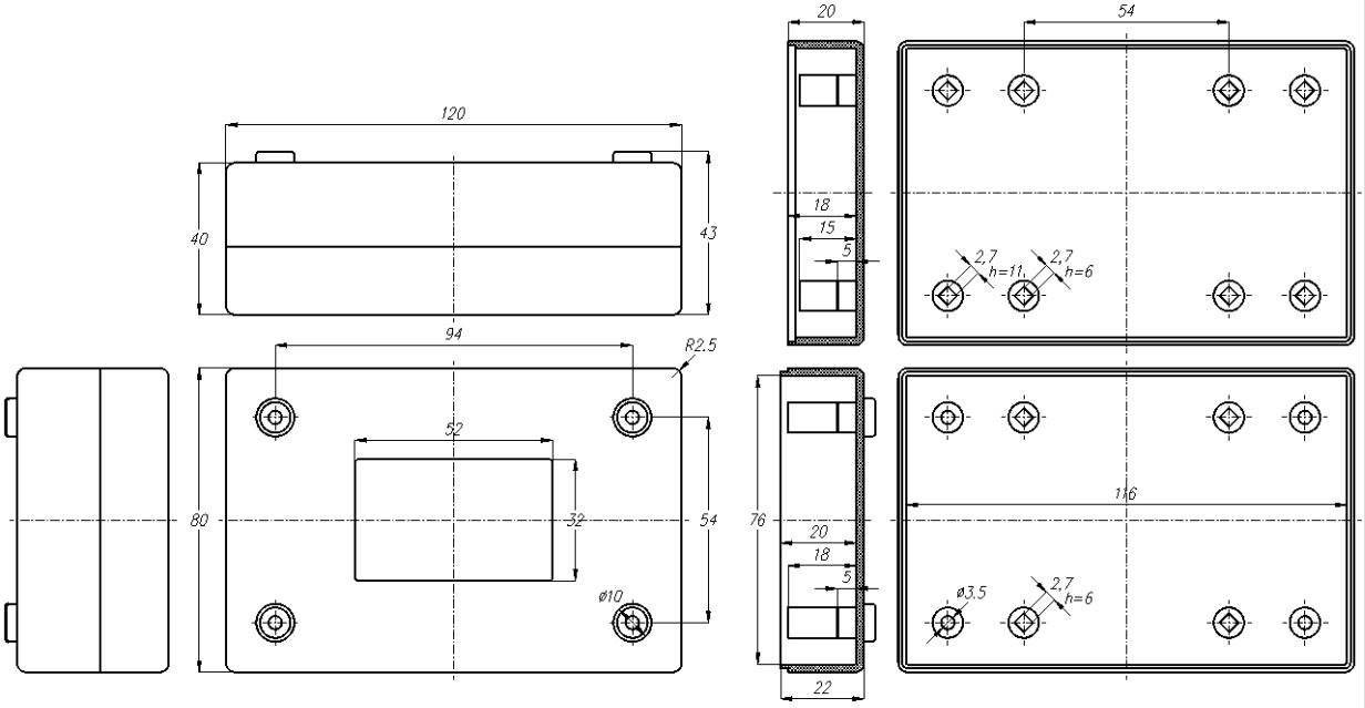 Общий вид - BOX-G103 - Корпус пластиковый черный 120х80х40 мм