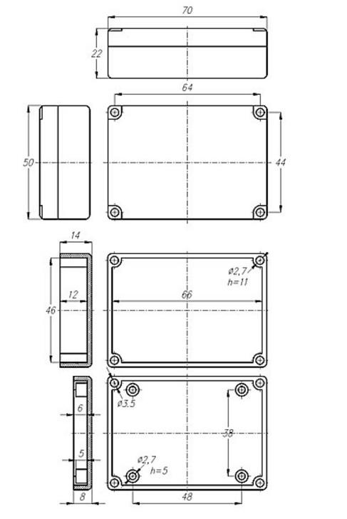 Чертеж - BOX-G025 - Корпус пластиковый 70х50х22 мм