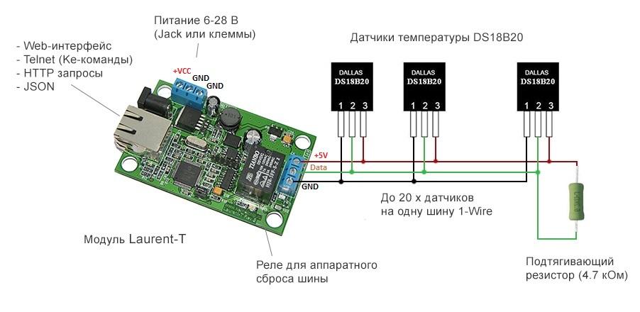 Схема подключения - MP719 Laurent-T - Многоканальный интернет термометр с WEB интерфейсом