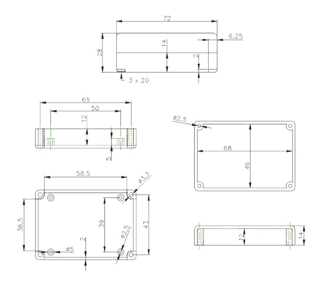 Чертеж - BOX-G026 - Корпус пластиковый 72х50х28 мм