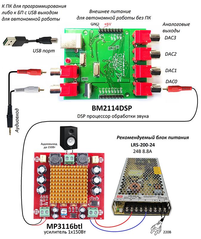 Схема подключения цифрового процессора - MP3116btl - Усилитель НЧ D-класса 1х150Вт для сабвуфера (TPA3116)