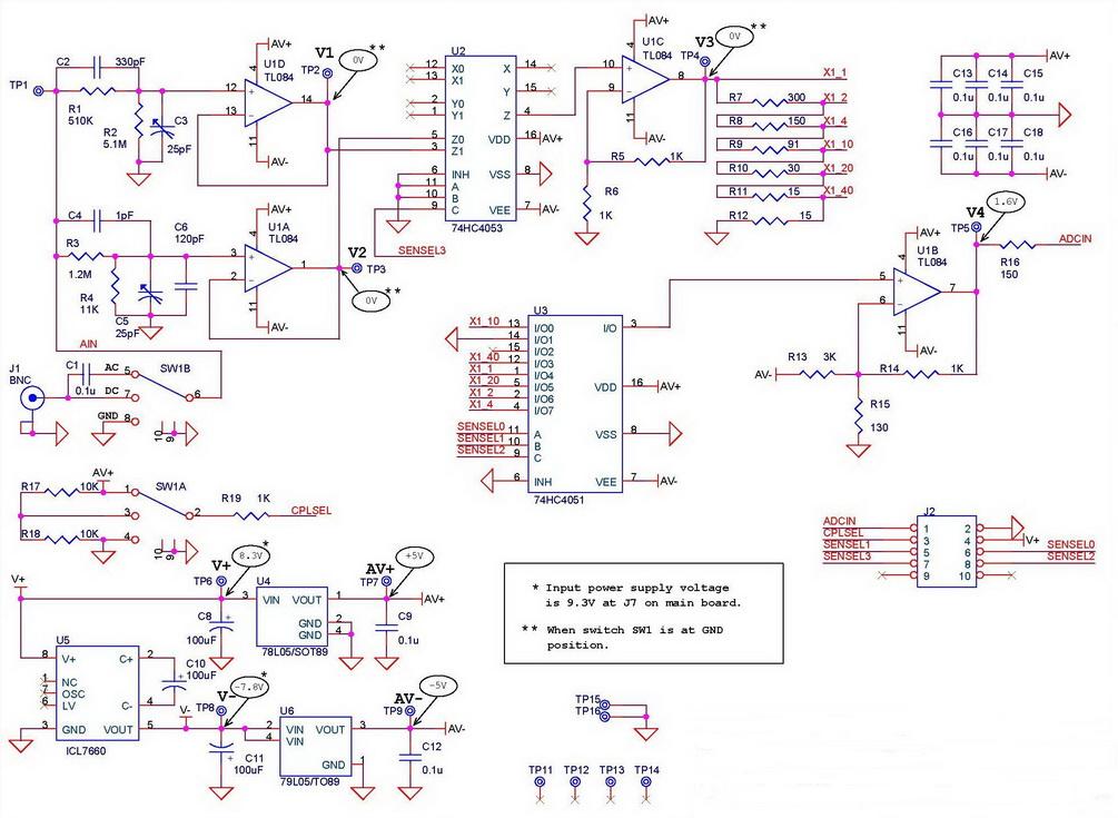 Аналоговая часть схемы - NM8025box - Цифровой осциллограф с корпусом