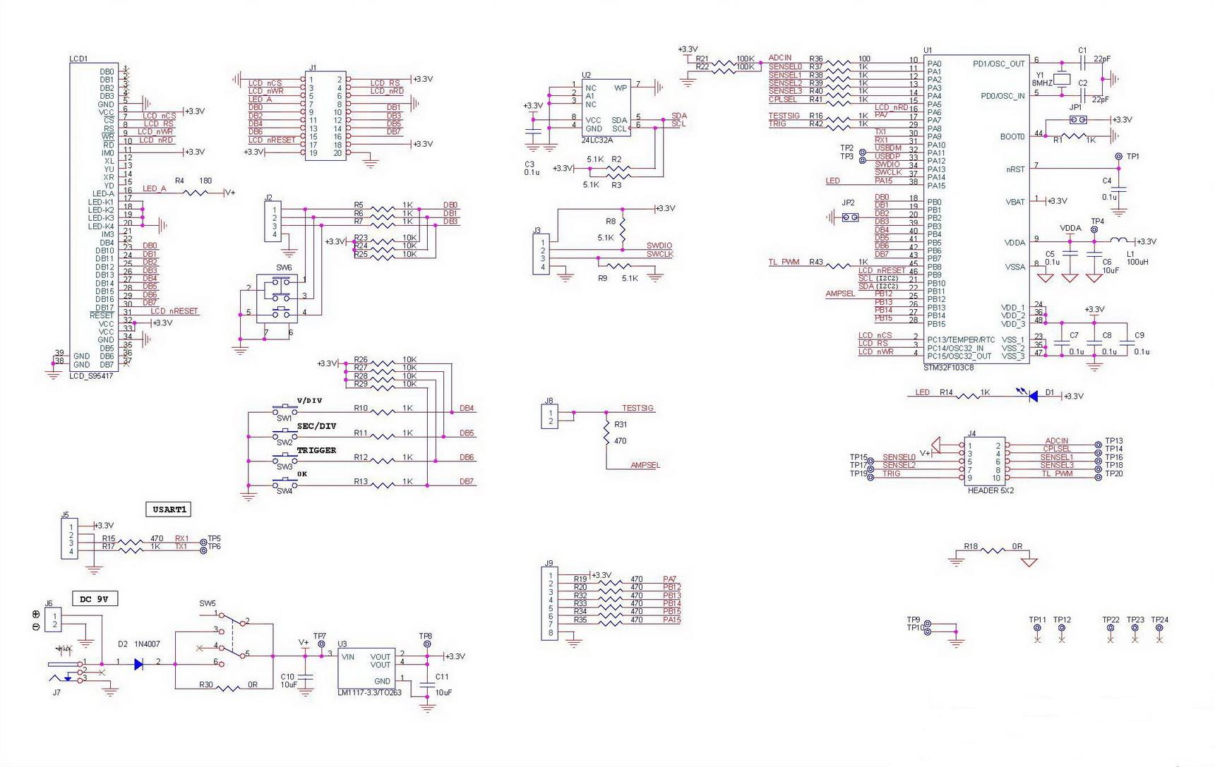 Цифровая часть схемы - NM8025box - Цифровой осциллограф с корпусом