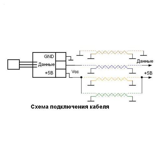 Схема - MP18B20 - Модуль цифрового термодатчика DS18B20+, удаленное подключение