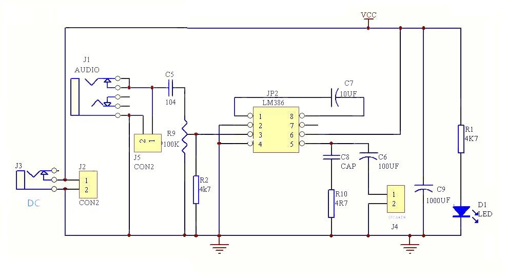 Электрическая схема усилителя  НЧ - NK046box - Набор юного радиолюбителя для сборки DIY колонки
