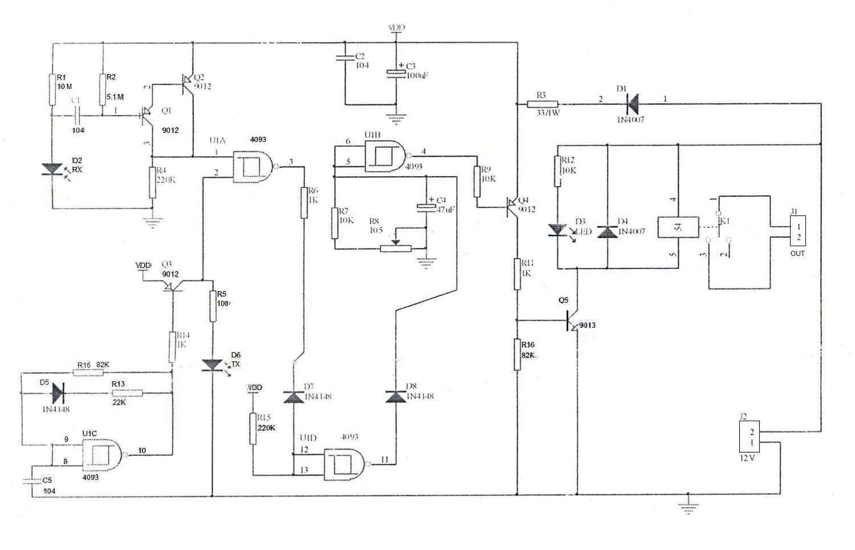Электрическая схема - NM082 - Набор радиолюбителя для сборки ИК сенсора