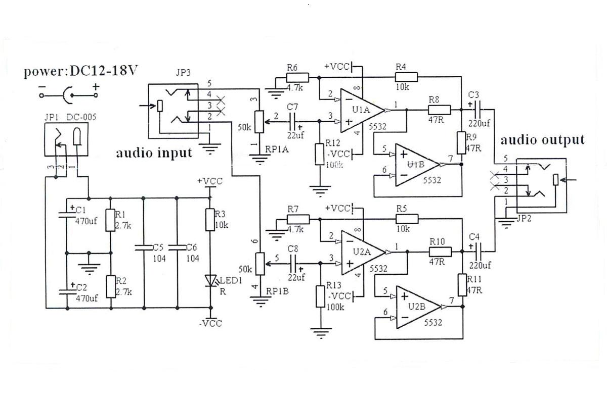 Электрическая схема - NM2030box - Набор для сборки усилителя звука для наушников