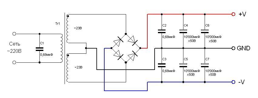 Вариант питания 1 - BM2042 - Усилитель НЧ 140 Вт, моно (TDA7293)