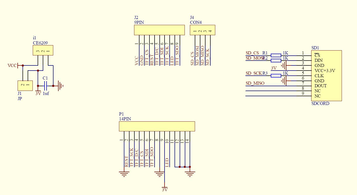 """Схема - TFT01-2.2SP - 2.2"""" TFT дисплей (320 * 240) для Arduino"""